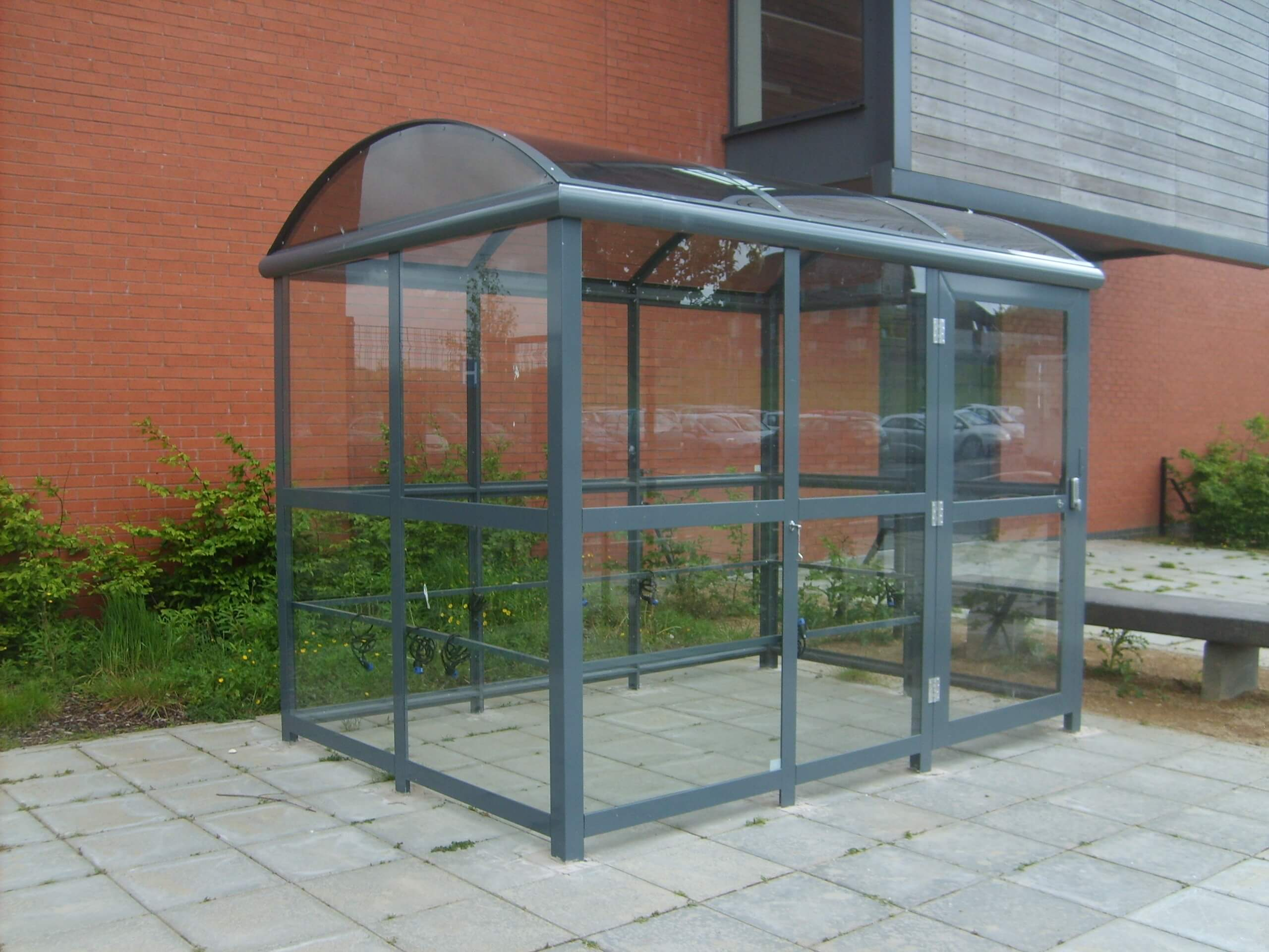 3 Bay 3.06mtr x 2.1mtr Elliptical Pram Shelter with Pin code entry lock