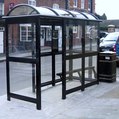 3 Bay Aluminium Eco Bus Shelter enclosed with perch seating