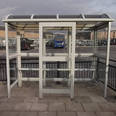 3 Bay Aluminium Eco Bus Shelter- Double front entry & perch seating