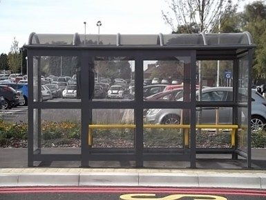 4 Bay Aluminium Eco Bus Shelter Enclosed with Perch seating