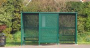 3 Bay Morley Bus shelter double front entry with perforated glazing & perch seating