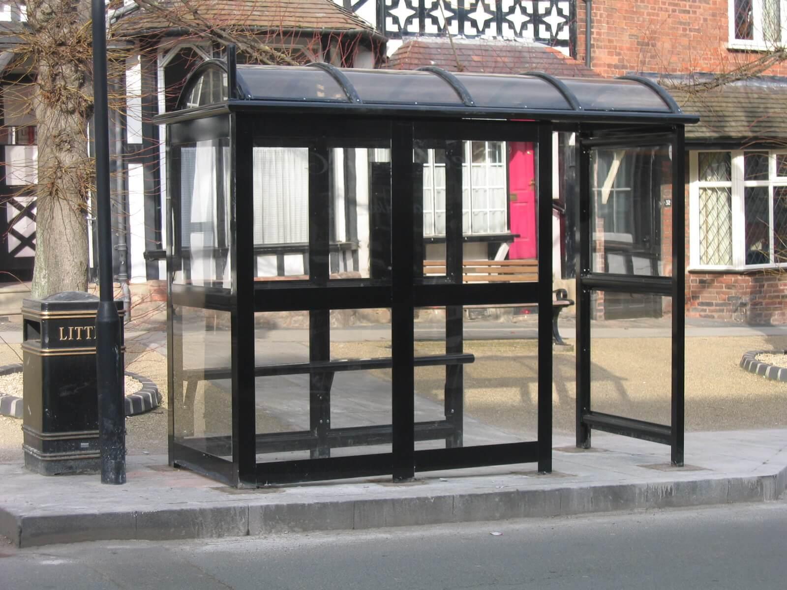 3 Bay Aluminium Eco Bus Shelter Enclosed wth Perch seating