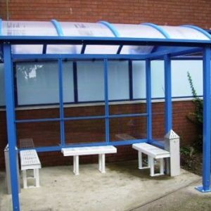 3 Bay HD Barrel Roof Smoking Shelter - Bench seating & pyramid ash trays