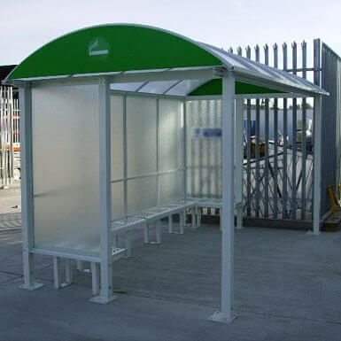 4 Bay HD Barrel Roof Smoking Shelter - Bench seating