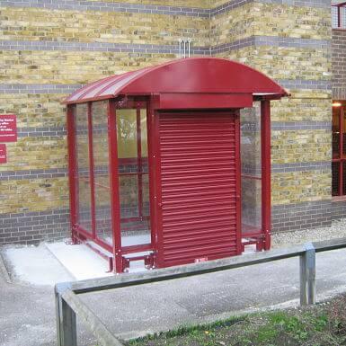 HD Ticket Machine Shelter enclosed with lockable roller shutter door
