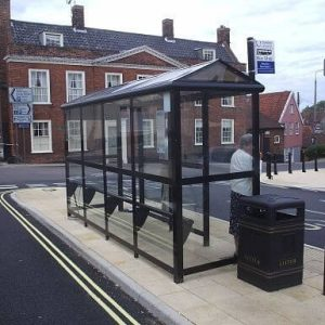 4 Bay Harrogate Bus Shelter with Perch seating