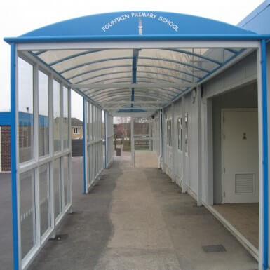 Barrel Roof Covered Walkway with side glazing