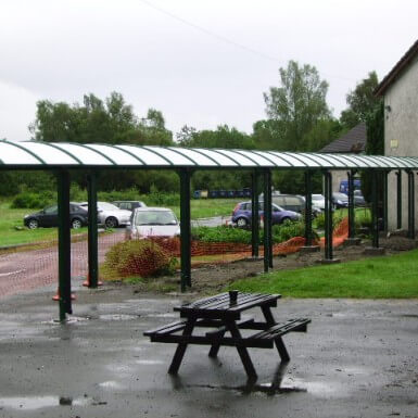 Barrel Roof Covered Walkway