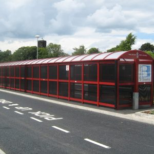 Large Skipton Waiting Shelter enclosed with Perforated glazing & Perch seating