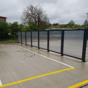 13.5m x 2m Straight Run Jet Wash Screen with clear 16mm multiwall polycarbonate
