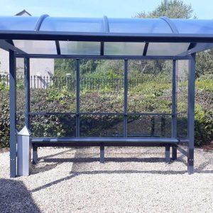 3 Bay Smoking Shelter with aluminium bench seating and pyramid ashtray