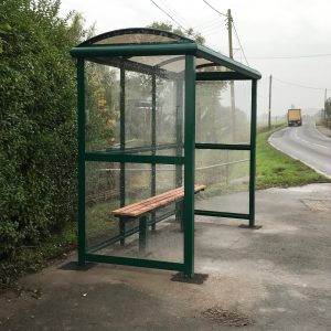 3 Bay Full End Panel Bus Shelter with bench seating