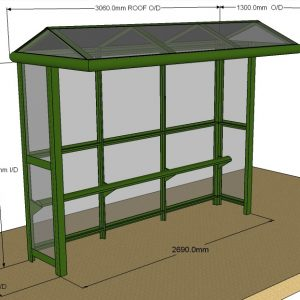 3 Bay Harrogate Half End Panel Bus Shelter