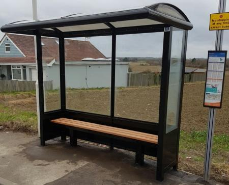 2 Bay Half End Panel Bus Shelter with solid lower panels & bench seating