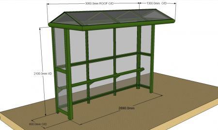 3 Bay Harrogate Half End Panel Bus Shelter